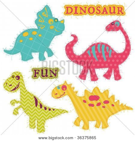 Scrapbook Design Elements - ��¡ute Dinosaur Set - in vector
