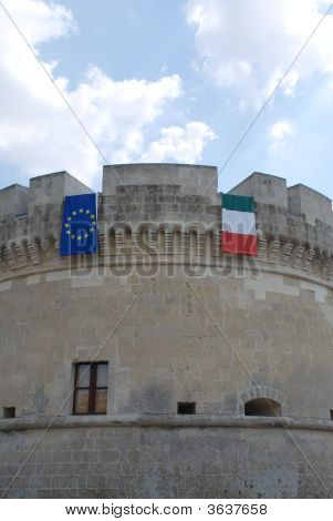 Italian And E.U. Flags On Acaya Castle