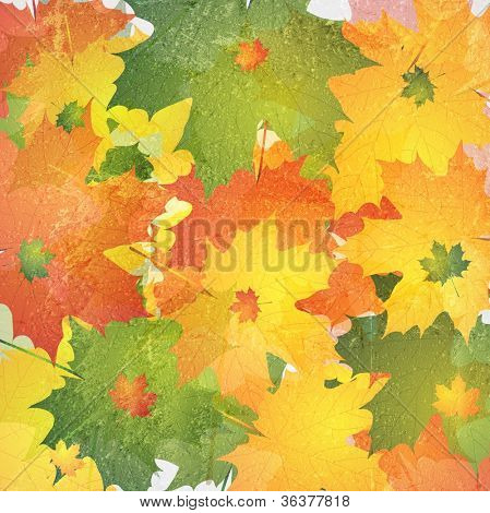 Bright autumn background. Grunge style. Vector eps 10