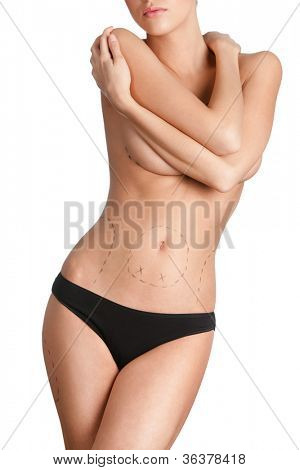 Wonderful girl is preparing to plastic surgery, isolated, white background
