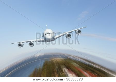 Image of a white flying passenger plane