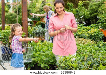 Little girl with her mum shopping at plant market