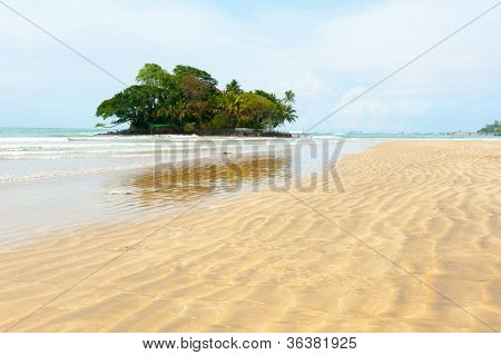 Taprobane Island landscape from Weligama beach in Sri Lanka