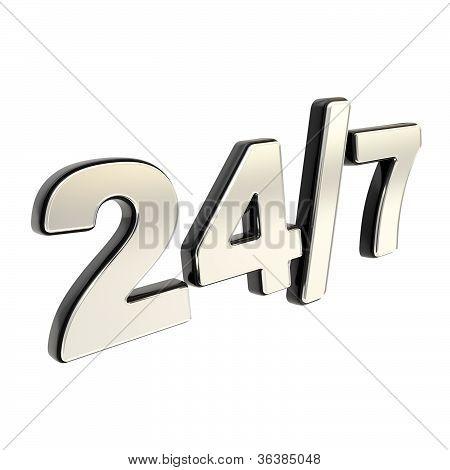 24/7 Twenty Four Hour Seven Days A Week Emblem Icon