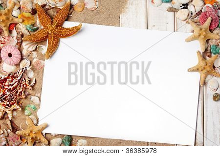Seashells with blank card on wood