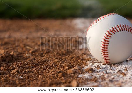 Baseball close up on the Infield Chalk Line