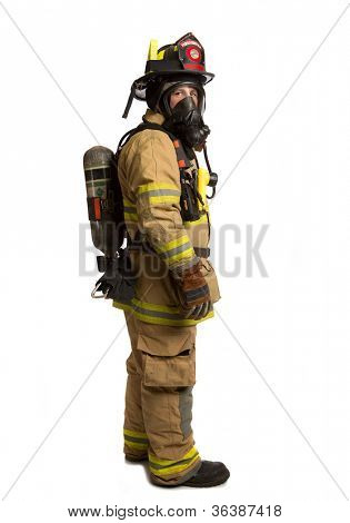 Firefighter with mask and airpack fully protective suit on isolated white background