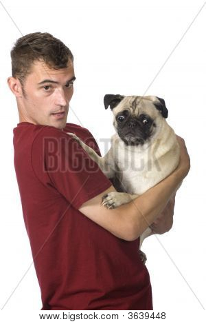 Man Holding Scared Pug Dog With Funny Expression