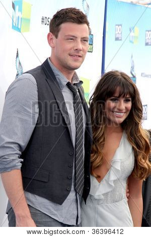 Los Angeles - AUG 19:  Cory Monteith, Lea Michele arrives at the 2012 Do Something Awards at Barker Hanger on August 19, 2012 in Santa Monica, CA