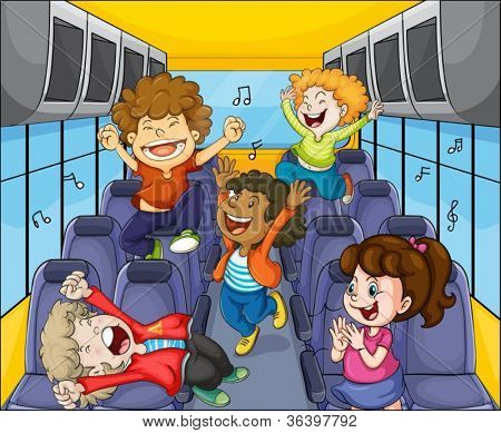 illustration of a kids in the bus