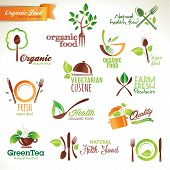 stock photo of vegan  - Set of vector icons and elements for organic food - JPG