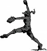 image of softball  - Vector Illustration Silhouette of a Fastpitch Softball Player Pitching - JPG