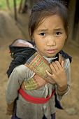 pic of hmong  - Hmong girl with brother Laos children in Asia