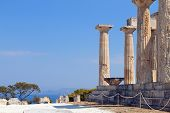 pic of akropolis  - Classical ancient temple of Aphaea Athina at Aegina island in Greece - JPG