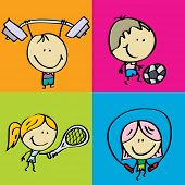 stock photo of judo  - Doodle happy sport kids - JPG
