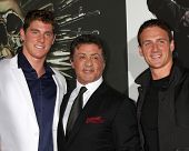 Los Angeles - AUG 15:  Conor Dwyer, Sylvester Stallone, Ryan Lochte arrives at the