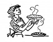 stock photo of homemaker  - Mom With Fresh Baked Pies  - JPG
