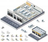 stock photo of isometric  - Vector isometric DIY supermarket interior plan - JPG