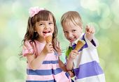 Children with ice cream cone outdoor