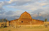 foto of rockefeller  - John Moulton Barn and Grand Teton range at sunrise - JPG