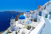 image of cupola  - Church Cupolas of Oia town on Santorini island - JPG