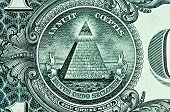 stock photo of all seeing eye  - mason Pyramid on One Dollar Bill macro - JPG