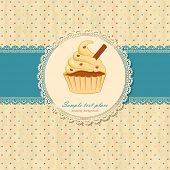 Vintage background with lace and cupcake