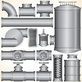 stock photo of valves  - Industrial Pipeline Parts - JPG