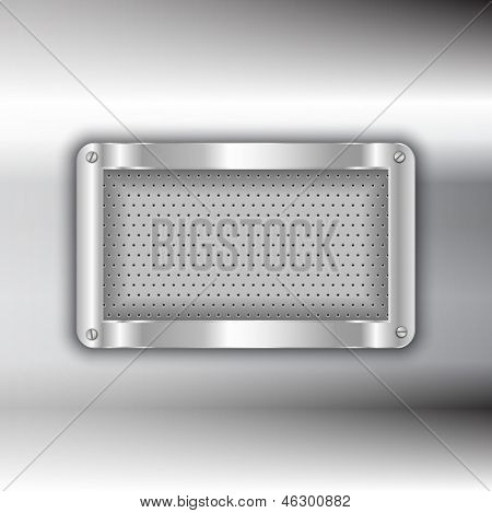 Metallic plate on a glossy metal background