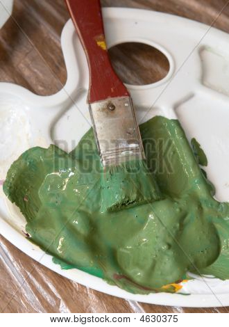 Artist Brush With Green Paint