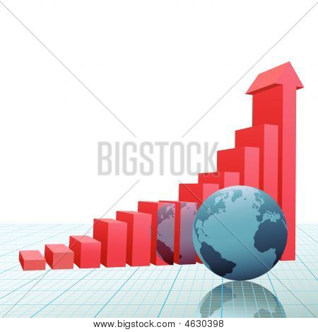 Progress Growth Bar Chart Arrow On Graph With Earth