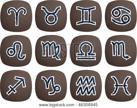 Zodiac Symbols Drawn With A Ballpoint Pen