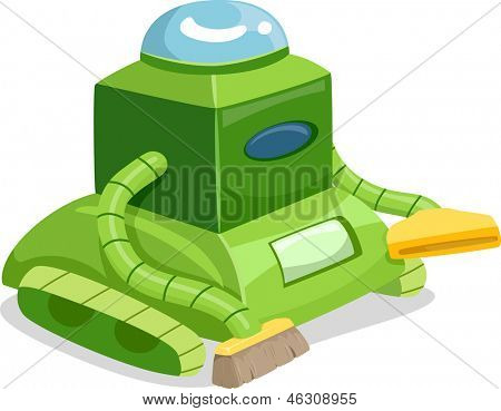 Illustration of a Robot Cleaner with Vacuum and Brush