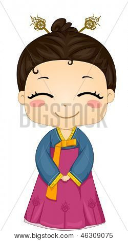 Illustration of Cute Little Korean Girl Wearing Traditional Costume