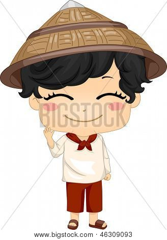 picture or photo of illustration of cute little filipino boy wearing traditional costume kamisa