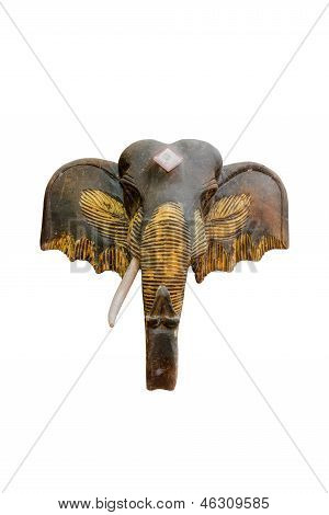 Wood Elephant Head