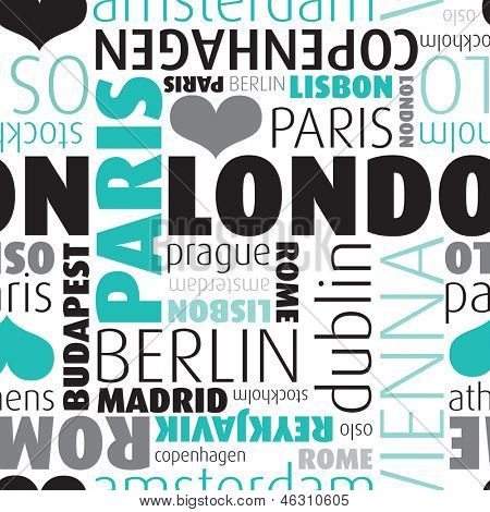Seamless europe city capitals typography background pattern in vector on white