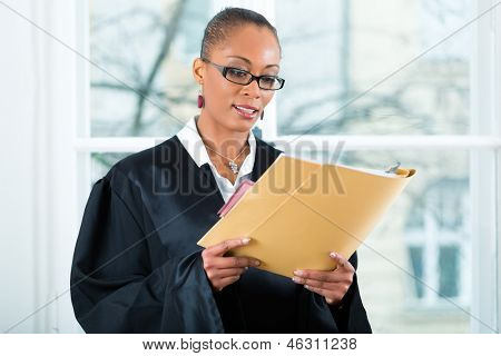 Young female lawyer working in her office with a file or dossier
