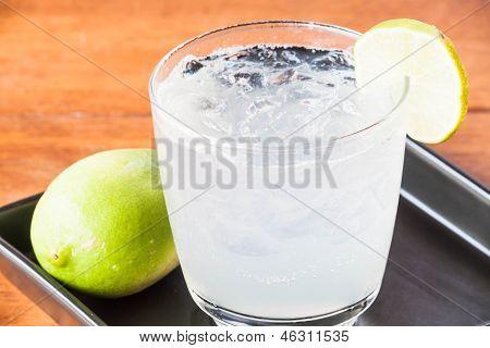 Close Up Fresh Homemade Iced Lemon Juice Soda