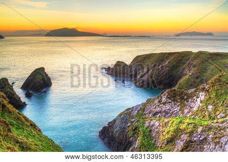 Sunset over Dunquin bay on Dingle Peninsula, Co.Kerry, Ireland