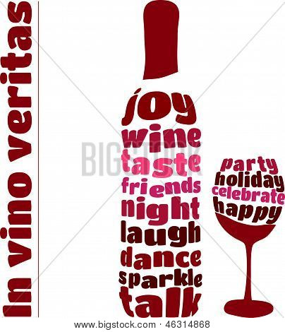 Vector illustration of wine bottle and glass in typography style
