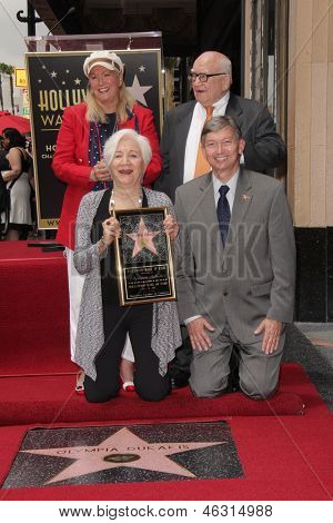 LOS ANGELES - MAY 24:  Diane Ladd, Ed Asner, Olympia Dukakis, Leron Gubler at the ceremony bestowing Olympia Dukakis with a Star on the Hollywood Walk of Fame  on May 24, 2013 in Los Angeles, CA