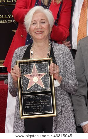 LOS ANGELES - MAY 24:  Olympia Dukakis at the ceremony bestowing Olympia Dukakis with a Star on the Hollywood Walk of Fame at the Hollywood Walk of Fame on May 24, 2013 in Los Angeles, CA