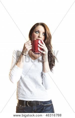 Young Woman With Beautiful Blue Eyes Drinking Coffee