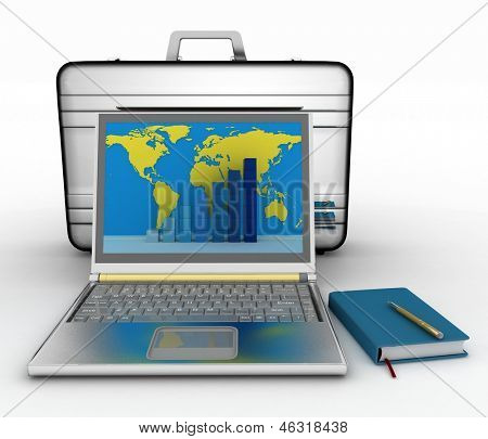 silvery laptop and notepad  with business brief-case  on white background