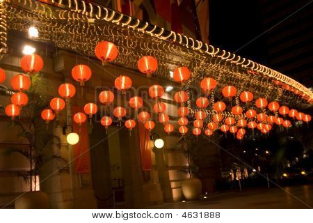 The Chinese Lamps At An Entrance In Hotel