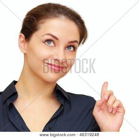 Happy Business Woman Pointing Finger An Idea With Smile Isolated