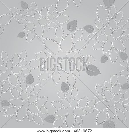 Seamless silver leaves lace wallpaper pattern. This image is a vector illustration.