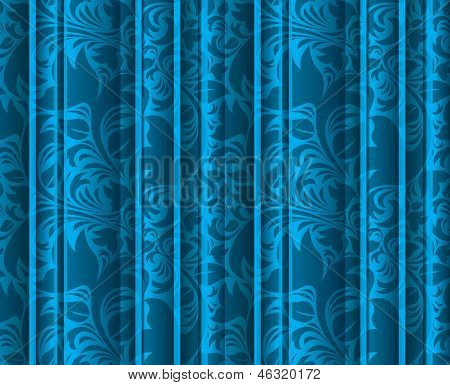Seamless floral texture on the blue curtains