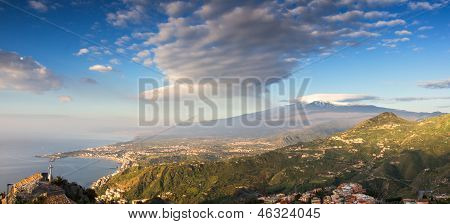 Panorama Of The Etna And The Sicilian Coastline